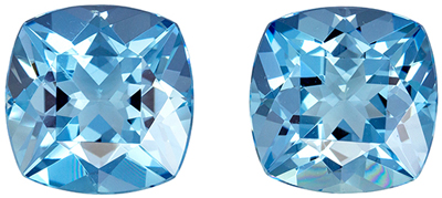 Bright & Lively Aquamarine Cushion Cut Well Matched Gemstone Pair, Vivid Sky Blue, 9 mm, 5.56 carats