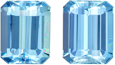 Bright & Lively Aquamarine Well Matched Pair, Emerald Cut, Rich Sky Blue, 10.1 x 8 mm, 6.1 carats