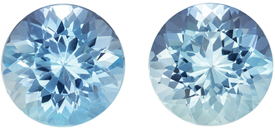Bright & Lively Aquamarine Well Matched Pair, Round Cut, Rich Sky Blue, 9 mm, 4.71 carats