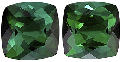 Bright & Lively Blue Green Tourmaline Well Matched Gemstone Pair in Cushion Cut, 3.23 carats, Blue Green, 7 mm