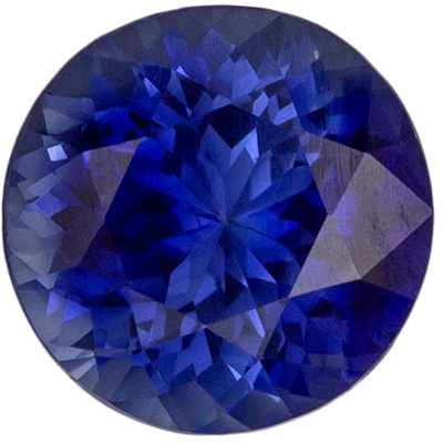 Bright & Lively Blue Sapphire Loose Gem in Round Cut, 1.14 carats, Medium Rich Blue, 6.18 x 6.25 x 4.07 mm