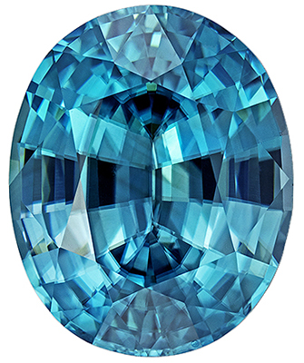 Bright & Lively Blue Zircon Gemstone in Oval Cut, Rich Teal Blue, 11.1 x 9.1 mm, 5.48 carats