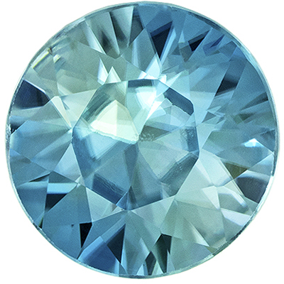 Bright & Lively Blue Zircon Gemstone in Round Cut, Vivid Tealy Blue, 6 mm, 1.07 carats