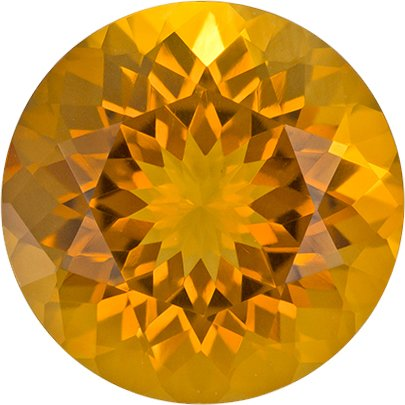 Bright & Lively Citrine Loose Gem in Round Cut, Medium Golden Orange, 9.1 mm, 2.31 carats