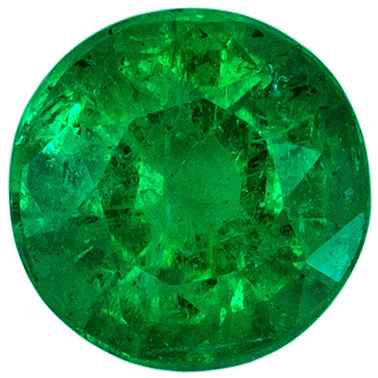 Bright & Lively Round Cut Loose Emerald in Vivid Medium Green Color in 0.85 carats , 5.8 mm