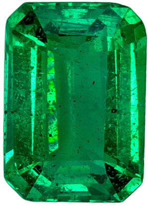 Perfect Ring Emerald Loose Stone, Clean and Vivid Green Color in Emerald Cut, 7.1 x 5 mm, 0.81 carats