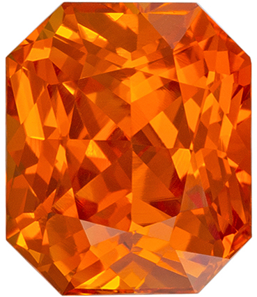 GIA Certified Orange Sapphire Gemstone in Brilliant Orange Color in Radiant Cut, 7.53 x 6.32 x 4.66 mm, 2.04 carats