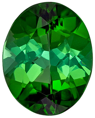 Bright & Lively Green Tourmaline Genuine Gemstone, Oval Cut, Rich Grass Green, 8 x 6 mm, 1.24 carats