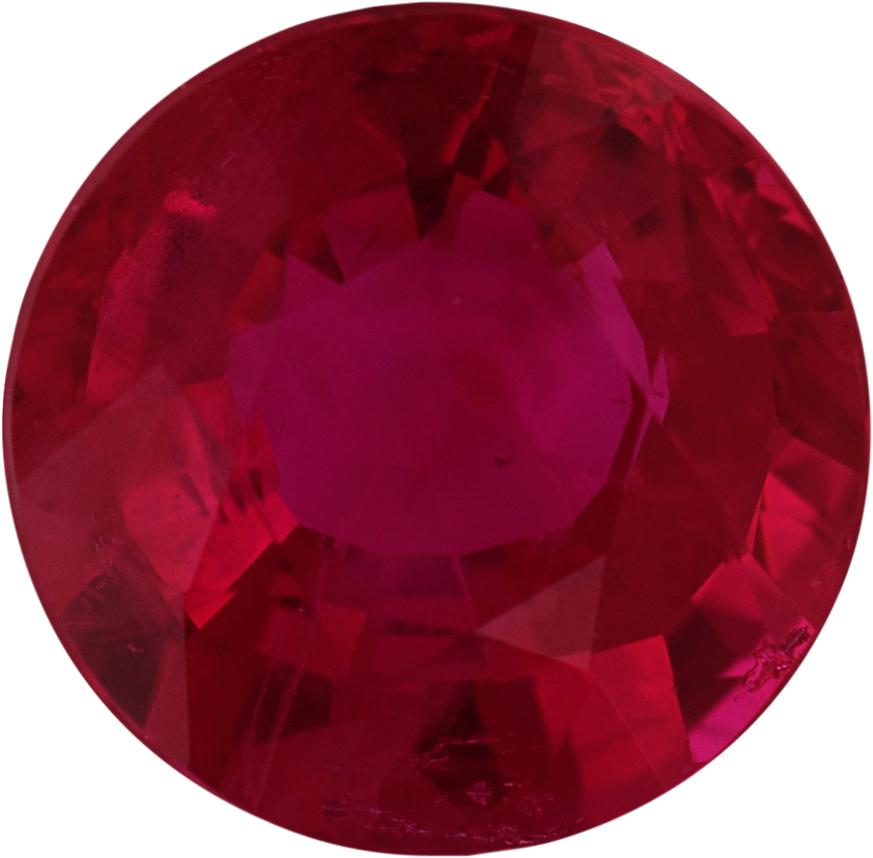 Bright & Lively Loose Ruby Gem in Round Cut, Vivid  Red Color, 6.02 mm, 1.05 carats