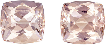 Matched Morganite Gemstones in Vivid Medium Peach Color in Gorgeous Cushion Cut, 6.9 mm, 2.84 carats