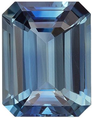 Bright & Lively  No Heat Blue Green Sapphire Emerald Cut Genuine Gem, Teal Blue Green, 10.84 x 8.31 x 4.89 mm, 4.55 carats GRS Certified