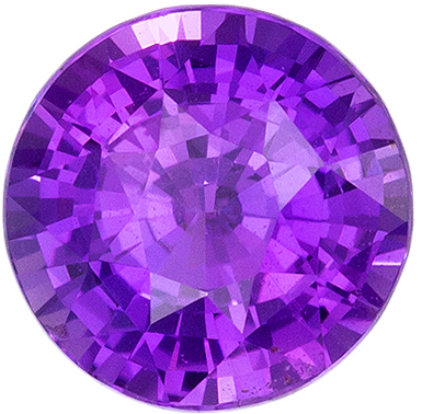 Bright & Lively No Heat GIA Certified Purple Sapphire Loose Gem, Round Cut, Rich Royal Purple, 6.5 x 6.59 x 4.49 mm, 1.55 carats