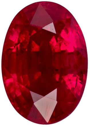 Bright & Lively Oval Ruby Gem in Vibrant Rich Red Color, 7.1 x 5 mm, 1.24 carats