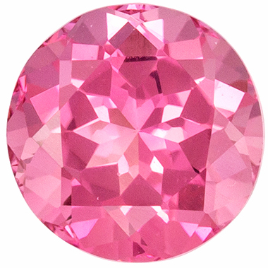 Bright & Lively Pink Tourmaline Genuine Gemstone in Round Cut, 6.8 mm, Medium Pink, 1.27 carats