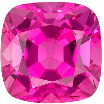Bright & Lively Pink Tourmaline Loose Gem, 8.8 mm, Medium Hot Pink, Cushion Cut, 3.3 carats