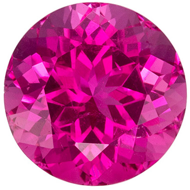 Bright & Lively Pink Tourmaline Loose Gem in Round Cut, 1.92 carats, Vivid Medium Pink, 7.8 mm