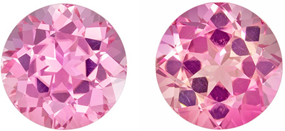 Bright & Lively Pink Tourmaline Well Matched Gemstone Pair in Round Cut, Medium Baby Pink, 8.4 mm, 5.05 carats