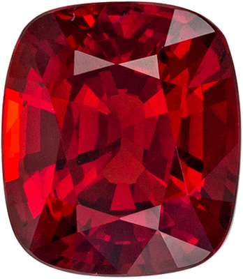 Bright & Lively Red Spinel Genuine Gemstone, Cushion Cut, Vivid Rich Red, 7.3 x 6.3 mm, 1.68 carats