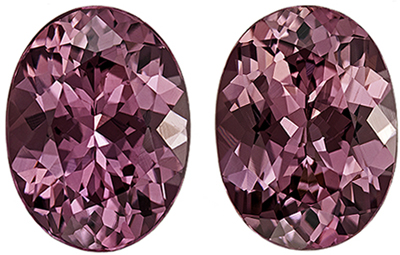 Bright & Lively Rhodolite Well Matched Gemstone Pair in Oval Cut, Vivid Raspberry Pink, 8 x 6 mm, 2.87 carats