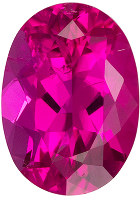 Bright & Lively Rubellite Tourmaline Gemstone in Oval Cut, Vivid Rich Fuchsia, 8.5 x 6.1 mm, 1.36 carats
