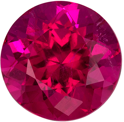 Bright & Lively Rubellite Tourmaline Loose Gem in Round Cut, 2.92 carats, Reddish Fuchsia, 9 mm