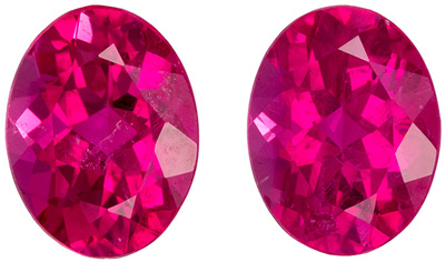 Bright & Lively Rubellite Tourmaline Well Matched Pair, 8.1 x 6.2 mm, Vivid Rich Fuchsia, Oval Cut, 2.76 carats