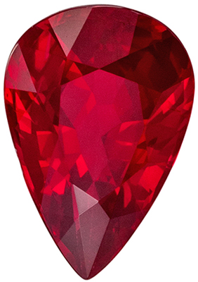 Bright & Lively Ruby Genuine Gem, Open Rich Red, Pear Cut, 8.7 x 5.9 mm, 1.52 carats