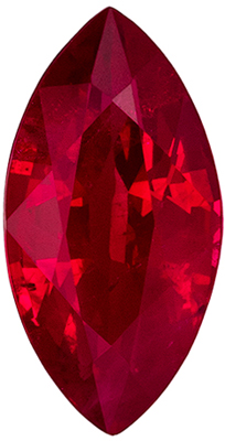 Bright & Lively Ruby Genuine Gemstone, Marquise Cut, Vivid Rich Red, 8 x 4.1 mm, 0.83 carats