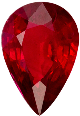 Bright & Lively Ruby Loose Gem in Pear Cut, Medium Rich Red, 7 x 4.8 mm, 0.72 carats