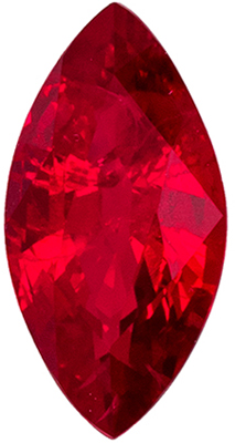 Bright & Lively Ruby Marquise Cut Genuine Gem, Vivid Pure Red, 7.9 x 4 mm, 0.68 carats