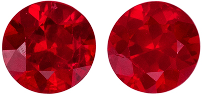 Bright & Lively Ruby Well Matched Gemstone Pair, Medium Rich Red, Round Cut, 4 mm, 0.67 carats