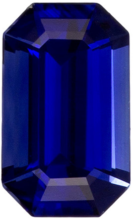 Bright & Lively Sapphire Loose Gem in Emerald Cut, Intense Rich Blue, 4.8 x 2.9 mm, 0.28 carats