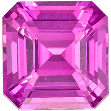 Perfect No Heat Pink Sapphire Asscher Cut Genuine Gem in Vivid Rich Pink Color in 1.20 carats , 5.86 x 5.71 x 3.76 mm GIA Certified