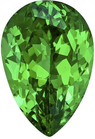 Bright & Lively Tsavorite Loose Gem in Pear Cut, Medium Rich Green Color in 8.0 x 5.4 mm, 1.30 carats