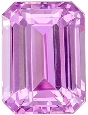 Bright & Lively Unheated Lotus Certified Pink Sapphire Genuine Gemstone, Emerald Cut, Vivid Baby Pink, 7.97 x 5.91 x 4.42 mm, 2.31 carats