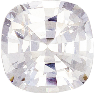 Bright & Lively White Sapphire Cushion Cut Loose Gemstone Colorless White, 6.6 mm, 1.47 carats