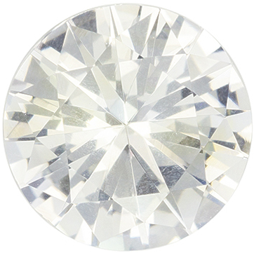 Bright & Lively White Sapphire Genuine Gemstone, Round Cut, Very Colorless White, 7.4 mm, 1.58 carats