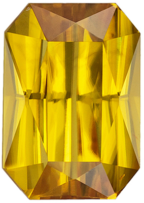 Bright & Lively Yellow Zircon Genuine Gemstone, Radiant Cut, Rich Honey Yellow, 10.3 x 7.2 mm, 4.68 carats