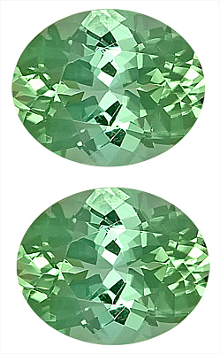 Bright Mint Green Tourmaline Genuine Matched Pair Gemstones for SALE - Great Choice for Earrings,  Oval Cut, 11.2 x 9.2 mm, 8.34 carats