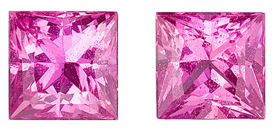Bright Pair of Rich Pure Hot Pink Sapphire Gemstones from Ceylon, Princess  Cut, 1.71 carats