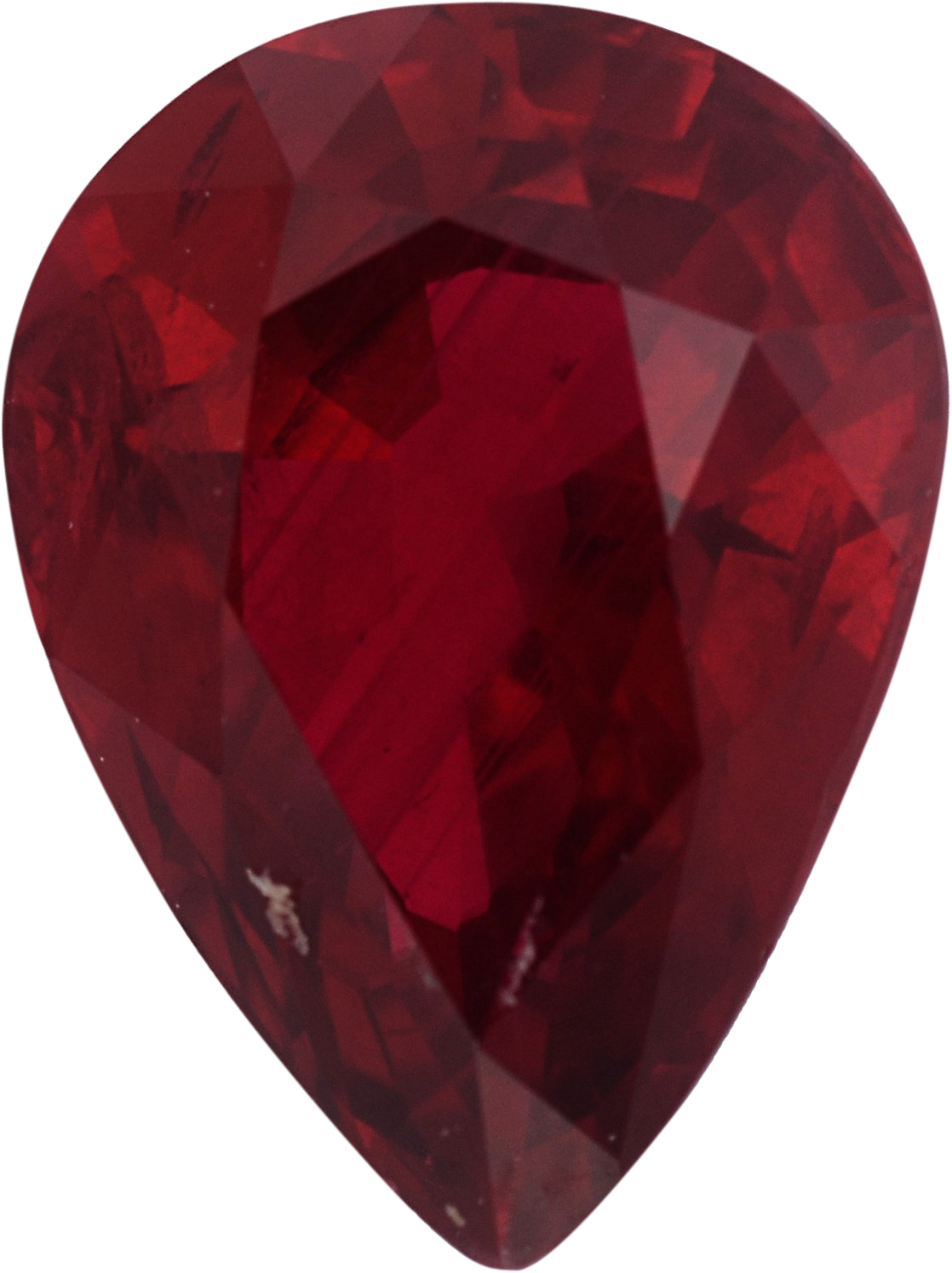 Bright Pear Shape Loose Ruby Gem,  Red Color, 8.95 x 6.72 mm, 1.97 carats