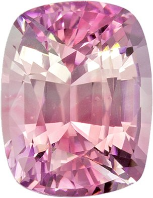 Bright Pink Peach Pastel Color Sapphire Gem in Cushion Cut, Unheated with GIA Cert in 7.58 x 5.87 x 4.43 mm, 1.78 carats