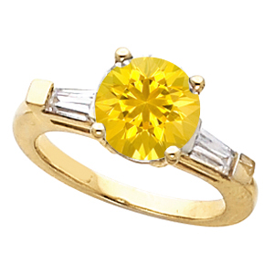 Bright & Pretty Round Yellow 1 carat 6mm Sapphire Gemstone Engagement Ring With Diamond Baguette Side Gems