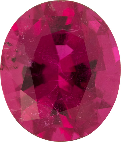 Bright Red Raspberry Tourmaline Genuine Gemstone,  Oval Cut, 13.9 x 11.9 mm, 7.29 carats