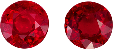 Bright Ruby Well Matched Gemstone Pair, Medium Rich Red, Round Cut, 4.8 mm, 1.05 carats