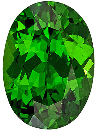 Bright Tsavorite Loose Gemstone in Oval Cut, Vivid Green, 7.6 x 5.5 mm, 1.14 carats