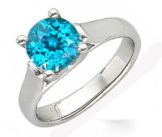 Bright & Vibrant Blue Zircon Solitaire Gemstone Ring With Chunky 14k Gold Band - SOLD