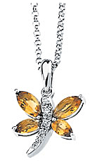 Brilliant 6x3mm .82ct Citrine & Diamond Dragonfly Necklace set in 14 karat White Gold - Free Chain - SOLD