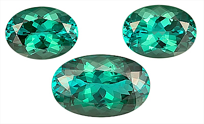 Brilliant Blue-Green 3pc Suite of Xtra Fine Tourmaline Gemstone for SALE,  Oval Cut, 12.7 x 9.6 mm,13.6 x 10.3 mm, 17.00 carats