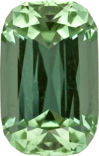 Brilliant Mint Green Tourmaline Gem in Antique Cushion German Cut, Striking Green Color in 10.1 x 6.9 mm, 3.01 Carats